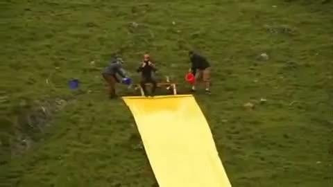 amazing human waterslide jump