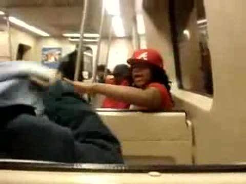 black girl freaks out on train