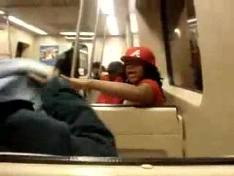 black girl freaks out on train